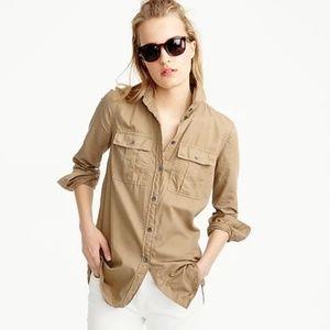 J. CREW Garment Dyed Fatigue Shirt 8 NEW NWT